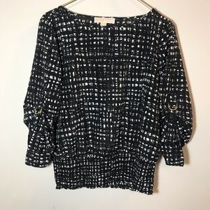 Michael Kors Patterned Blouse with Elastic Bottom